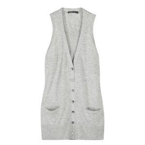VINCE • grey cashmere button up vest